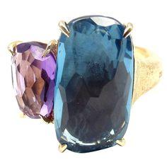 Marco Bicego Murano London Blue Topaz Amethyst Gold Ring | 1stdibs.com
