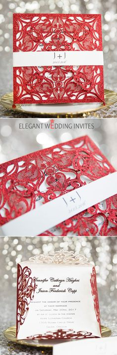 red glittery laser cut invitations with custom belly band