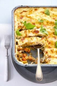 Roasted winter vegetable cannelloni with blue-cheese sauce