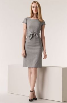 Gray Dress black heels. women closet ideas fashion style @roressclothes apparel clothing ladies outfit summer