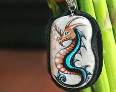 Stone necklace with hand-painted green by SkadiaArt on Etsy