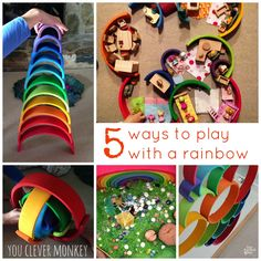 5 Ways to play with a Rainbow - different ideas for play with your Grimms large wooden stacking rainbow toy Learning Activities, Activities For Kids, Crafts For Kids, Grimm's Toys, Kids Toys, Grimms Rainbow, Block Play, Wooden Rainbow, Creative Play