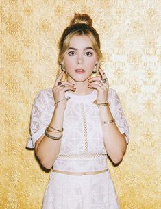 Kiernan Shipka featured on Papermag.com in Doloris Petunia Mohawk Gold earrings for their Beautiful People feature!