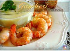 Gamberi al Lardo di Colonnata Happy Hour, Finger Foods, Quiche, Shrimp, Buffet, Meat, Cooking, Christmas Recipes, Carne