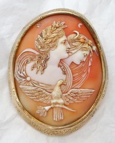 LARGE ANTIQUE SHELL CAMEO BROOCH - DAY AND NIGHT | eBay