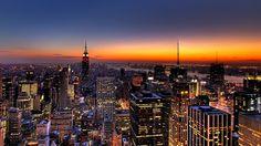 NEW YORK, NIGHT, SKYSCRAPERS