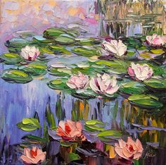 Lily Pond Monet's Garden Landscape Oil Painting by NuFineArt5
