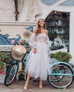 White wedding dress by Dream&Dress. Bohemian off shoulder dress, tulle delicate bridal gown, ball or prom dress, A-line light dress, rustic bride Blush Pink Wedding Dress, Tea Length Wedding Dress, Bohemian Wedding Dresses, Tulle Wedding, Cocktail Wedding Dress, Tea Length Dresses, Off Shoulder Wedding Dress Bohemian, Delicate Wedding Dress, Party Dresses With Sleeves