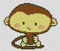 Baby monkey cross stitch.
