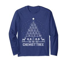 Unisex Chemist Tree Long Sleeve T-Shirts Chemistry Ugly Christmas sweater science chemistry periodic table