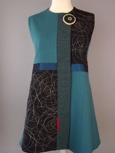 Juanita Girardin – Princess Line Vest with Abstract Flowers and Navy Accent