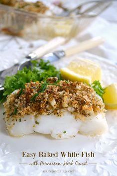 Easy Baked White Fish with Parmesan-Herb Crust is ready in 20 minutes - make a salad while this healthy recipe is baking and dinner's on the table!