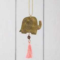 Elephant Brass Car Charm - Add a little color to your car with this brass car charm! This elephant charm features a bright pink tassel, wooden bead and hand-doodled floral details... perfect for giving to friends and family!