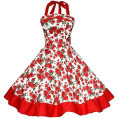 Maggie Tang Women's 1950s Vintage Rockabilly Dress ($20) ❤ liked on Polyvore featuring dresses, rockabilly bridesmaid dresses, vintage day dress, white rockabilly dress, rockabilly dresses and white day dress