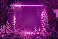 Realistic leaves with neon frame background , Whats Wallpaper, Framed Wallpaper, Neon Wallpaper, Aesthetic Iphone Wallpaper, Aesthetic Wallpapers, New Background Images, Flower Background Wallpaper, Frame Background, Vector Background