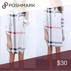 "Casual Plaid Dress Large 34"" Shoulder to hem 18"" waist Dresses Mini"