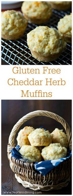 Gluten Free Cheddar Herb Muffins found at http://www.fearlessdining.com