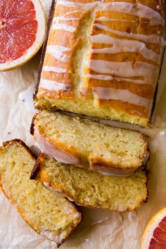 Unbelievably moist grapefruit loaf made with Greek yogurt and fresh grapefruit juice! The flavor and texture are both incredible! Recipe on sallysbakingaddiction.com