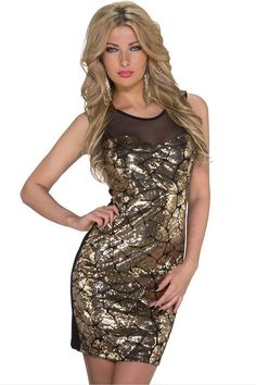 Gold Sequin Mesh Insert Tunic Club Dress