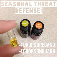Seasonal threat defense! 4 drops each of DōTERRA Oregano & OnGuard essential oils in a veggie capsule. I take one after each meal when I feel I need!