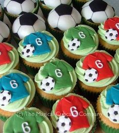 Football cupcakes - http://www.themagicalcupcakecompany.co.uk/cupcakes.html#