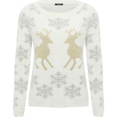 M&Co Snowflake Reindeer Jumper (125 BRL) ❤ liked on Polyvore featuring tops, sweaters, cream, white sweater, long sleeve knit tops, white long sleeve sweater, knit sweater and knit top