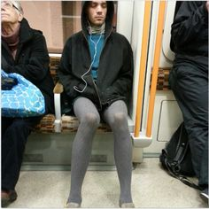 Found this on twitter. A hipster in the subway? Can't tell if he's wearing shorts. I like his cable-knit tights. A great, warm choice for this time of year!