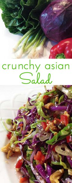 Crunchy Asian Salad - Through Her Looking Glass - Crunchy Asian Salad with light, sweet dressing. Gorgeous salad with big crunch. Cabbage, red peppers, toasted ramen noodles, almonds and sesame seeds. Crunchy Asian Salad, Asian Salads, Ramen Noodle Salad, Red Cabbage Salad, Salad Places, Chicken Flavors, Chicken Seasoning, Healthy Salad Recipes, Side Salad