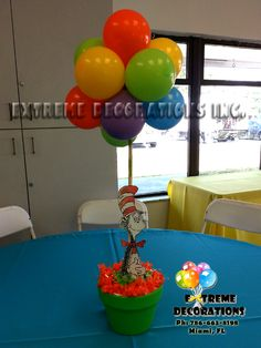 For this event, we did all the centerpieces with different Dr Seuss Characters: Cat in the hat, Sam I am, Horton and more!