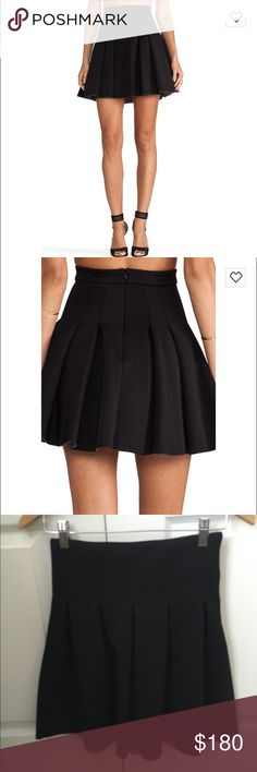 T by Alexander Wang Neoprene Pleated Skirt S Small Pleats flare dramatically from the formfitting waist of this chic black skirt, inventively styled in sporty neoprene fabric. Has zipper that can be centered on the back or on the side.   Shell: 94% polyester/6% spandex. Backside: 100% cotton 18in long Retails $230+tax and sold out on shopbop and revolve: https://m.shopbop.com/neoprene-inverted-pleat-skirt-t/vp/v=1/845524441947895.htm…