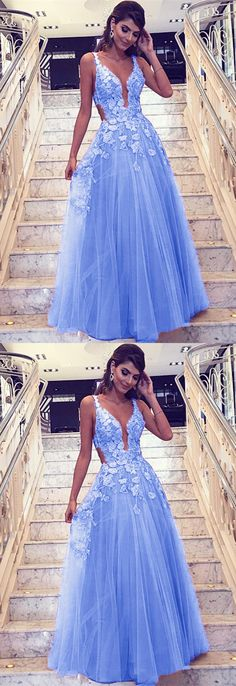 Light Blue Lace Embroidery V-neck Tulle Prom Dresses Floor Length Evening Gowns