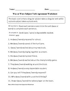 Was or Were Subject Verb Agreement Worksheet