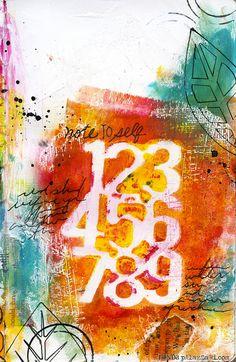 "Ronda Palazzari -  Note to Self -- using the Balzer Designs ""Numbers Bits"" stencil"
