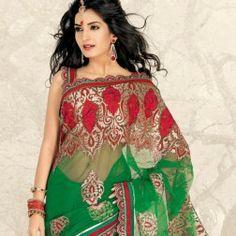 Aloe Vera Green & Brick Red Net Embroidered Saree buy on www.Readyforshop.com