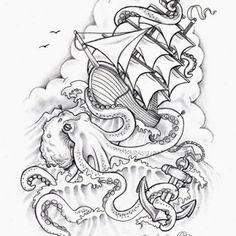 Octopus Ship Tattoo 3