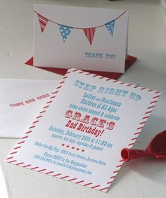 Red & Blue Carnival Invitation DIGITAL FILE by thepaperpeony, $15.00
