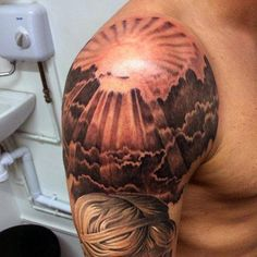 70 Sun Tattoo Designs For Men – A Symbol Of Truth And Light Masculine Mens Sun Tattoos Sleeve This image. Sun Rays Tattoo, Sunrise Tattoo, Storm Tattoo, Sun Tattoos, Body Art Tattoos, Tattoos For Guys, Cloud Tattoos, Henna Tattoos, Samoan Tattoo