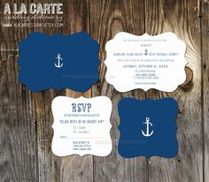 Whimsical Nautical Anchor Wedding Invitation and RSVP Cards  - Ornate Die-cut Invitation Cards. $30.00, via Etsy.