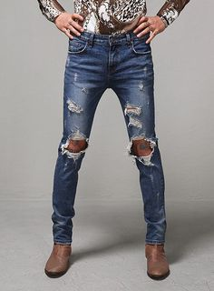 Waxed Raw Denim Skinny Rigid Jeans $35.10 #fashion #style #street ...