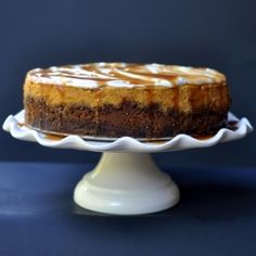 One of our holiday standards: Pumpkin Cheesecake with Gingersnap Crust and Salted Caramel.