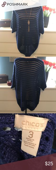 Chicos 3 blue sweater Open Keyhole sweater 50 inch bust 30 inches long. ❤️Take a look at our entire store  ❤️ We ship within 24 hours  ❤️100% customer satisfaction rating  ❤️Customer service always here to help  ❤️Send us offers, we love Bundles also. ❤️We are an Online Clothing Company  Thanks for shopping at DuttyKangaroo. You are appreciated! Chico's Sweaters Crew & Scoop Necks