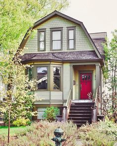 """Emma on Instagram: """"When I was younger, *everything* had to be green! Green bedroom, green sneakers, and even green pajamas. No wonder I keep eyeing this…"""" Cottage Style Homes, Craftsman Style Homes, Dutch Colonial, Green Sneakers, Bedroom Green, Entryway, Exterior, Cabin, Architecture"""