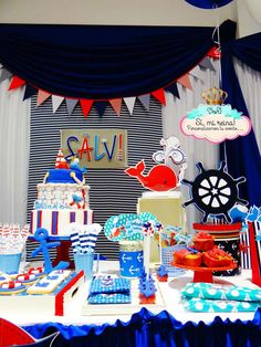 Decorations at a nautical birthday party! See more party ideas at CatchMyParty.com!