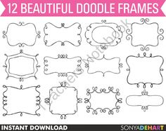 Clip Art Doodle Frames Set from SonyaDeHartDesign on TeachersNotebook.com (12 pages)  - Clip Art Doodle Frames Set