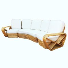 Paul Frankl Six Strand Rattan Five-Seat Curved Sectional Sofa 4