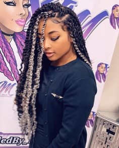 Material: 18 Inch Water Wave for Passion Twist Hair,made with high quality low temperature Kanekalon synthetic fiber. Black Girl Braids, Braids For Black Hair, Girls Braids, Box Braids Hairstyles, Twist Hairstyles, Hairdos, Summer Hairstyles, Twists, Twist Braids