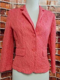 Princess Vera Wang Blazer Sz M Coral textured two Button Jacket Womens  #PrincessVeraWang #Blazer