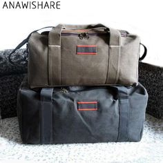 ANAWISHARE Men Travel Bags Large Capacity Women Luggage Travel Duffle Bags  Canvas Big Travel Handbag Folding Trip Bag Waterproof 15f89dff4dc97