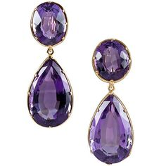 Vintage Jewelry A pair of Victorian gold and amethyst earrings, circa - A faceted pear amethyst is suspended from a faceted round amethyst and framed in yellow gold. Purple Jewelry, Purple Earrings, Amethyst Jewelry, Amethyst Earrings, Ring Earrings, Gold Jewelry, Purple Accessories, Victorian Jewelry, Antique Jewelry