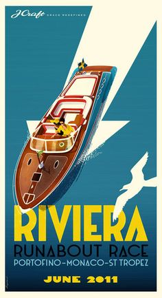 Riviera Runabout Race - travel poster art of vintage speed boat